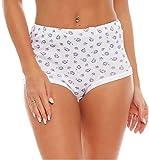 FTSD - FindTheSecretDreams 4er Pack Damen Slips aus Baumwolle (weiß/geblümt) Nr. 420 (Modell 3/52/54)