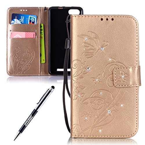Custodia Wiko Lenny 3, Cover Wiko Lenny 3, Wiko Lenny 3 Custodia Cover, JAWSEU Libro Disegno PU Leather Wallet [Shock-Absorption] Pelle Portafoglio Custodia per Wiko Lenny 3 Cover Goffratura Arts Fior Diamante Fiore, Oro