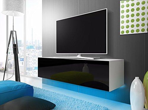 Lana - mobiletto porta tv sospeso / mobile porta tv sospeso (160 cm, bianco opaco / pannello frontale nero lucido con luci led blu)