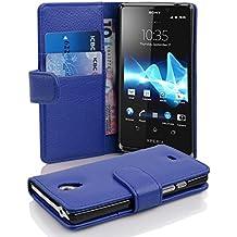 Cadorabo - Etui Housse pour Sony Xperia T - Coque Case Cover Bumper Portefeuille (avec fentes pour cartes) en BLEU CÉLESTE