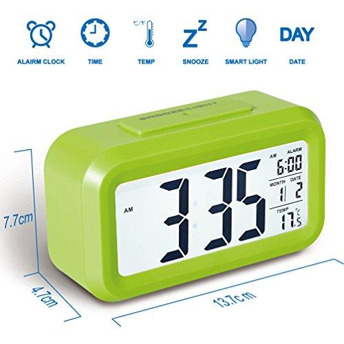 Colico Smart LED Digital Wecker Snooze 5 Minuten, bald aufhören Alarmknöpfe, mit Datum, Temperatur-Sensor-Licht (Grün)