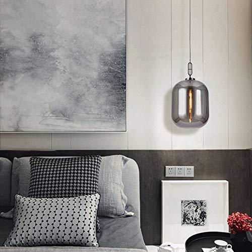 HangRay Postmoderne Glaspendelleuchte, Wintermelonen-Außendesign, rauchgrauer Lampenschirm / 180 cm Verstellbarer Aufhängungsdraht, ideal für Schlafzimmer-Restaurantbüros,Amber,26cm -