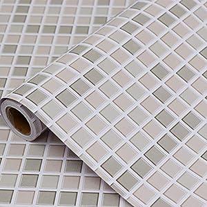 Hode Mosaik Fliesen Folie Selbstklebend, Fliesenaufkleber für Küchen, Bädern,40cmX300cm, Mosaik,Dekofolie,Dekorative Fliesen Klebefolie für Wandfliesen (Khaki),Mosaik Fliesen Tapete für Bad