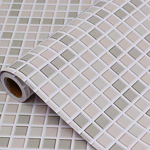 Hode Mosaico Vinilo Adhesivo para Azulejos Cocina 40X300cm, Mosaic,Impermeable Papel Pintado Autoadhesivo Baño, Cocina Azulejo,(Marrón Claro) Decorativos Papel Adhesivos