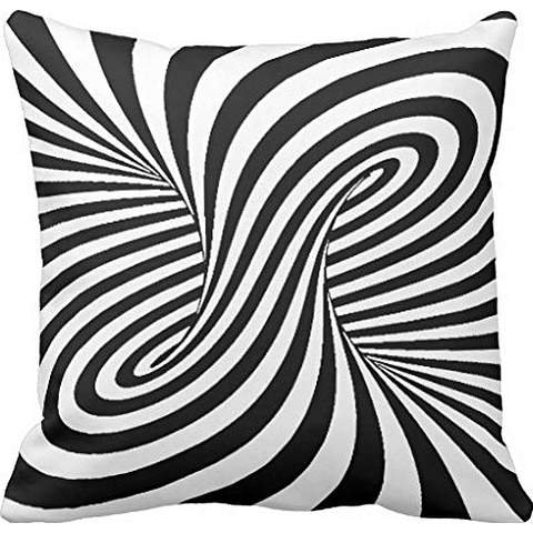 BLACK WHITE ZEBRA SWIRLS PATTERNS OPTICAL ILLUSION cushion cover case 24*24 Black Zebra Illusion