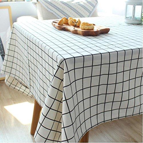 nappes en tissu à carreaux linge simple, table de pique-nique table basse rectangulaire nappe pastorale , 140*220cm lace money , white
