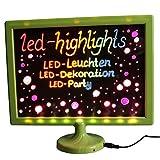 LED-Highlights Deko Schreibtafel Leuchtschild 32 x 28 cm Led Rahmen grün Leuchttafel Werbeschild 8 Neon Stifte Buchstaben bunt beschreibbar