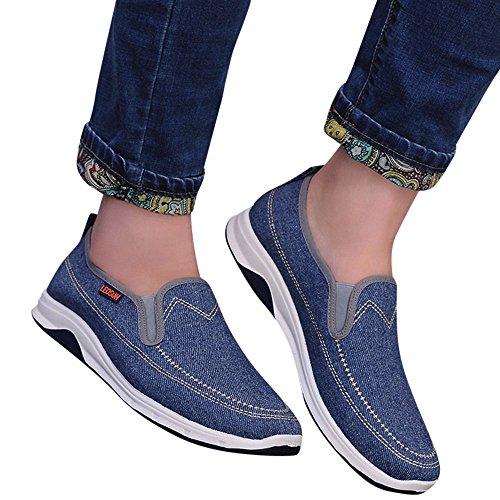 Sneakers Sportive Comodo E Indossabile Scarpe da Uomo Casual Traspiranti Piatte in Denim Sportivo Traspirante(Azzurro+44 EU)