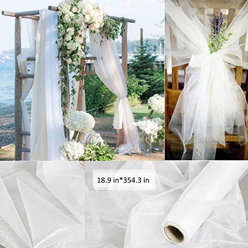 Amycute 9m Rolle Tüllstoff weiß Tüll Tülldekostoff für Brautschleier, Schleifen Schärpe, Tüllrock, Tischläufer, Hochzeit und Party Deko.