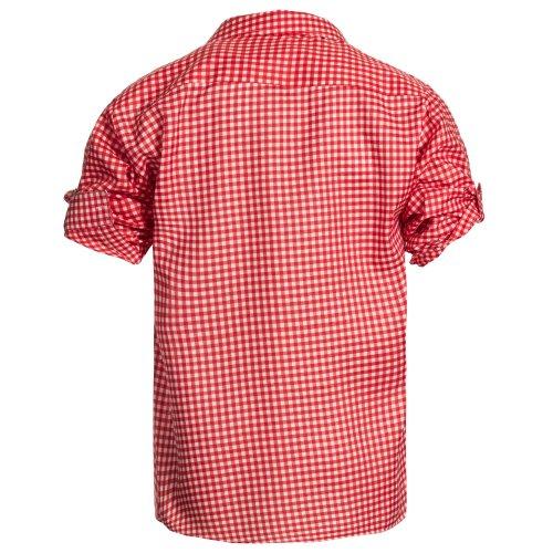 Herren Set Lederhose Dunkelbraun und Trachtenhemd Rot Weiß Kariert Gr. Hose 54 Hemd 2XL - 4