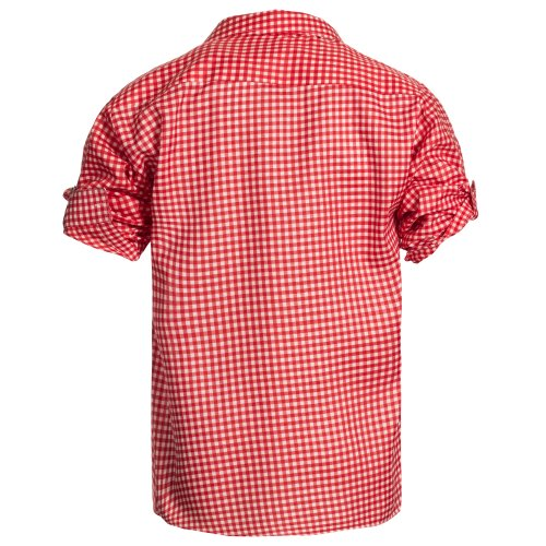 Herren Set Lederhose Dunkelbraun und Trachtenhemd Rot Weiß Kariert Gr. Hose 46 Hemd M - 4