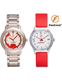 Fastrend Quartz Watch Combo For Men And Women - Durable Analog Watches - Couple Watches - 1 Silver And 1 Red -...
