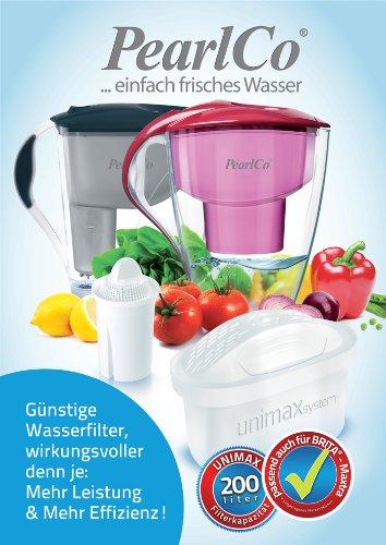 PearlCo Wasserfilter Astra (weiß) inkl. 1 unimax Filterkartusche (kompatibel mit Brita Maxtra) -