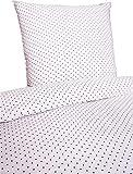 P.K. Textilien Fein Biber Bettwäsche 135x200cm 2 TLG. Punkte Dots Blau Weiß Sand