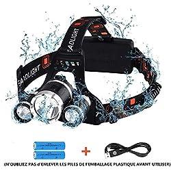 【Version Innovante】Lampe Frontale Rechargeable, Orientable Puissante, LED 4 Modes, 5000 LM, Portée de 400M, IPX6 Étanche avec Câble USB pour Camping, Pêche, Vélo, Randonnée, Cyclisme, Chasse