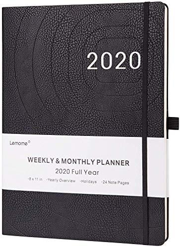 Agenda 2020 - Agenda 2020, formato A4, visualizzazione settimanale, con copertina in pelle, passante per penne, carta spessa, tasca interna, 210 x 297 mm, nero
