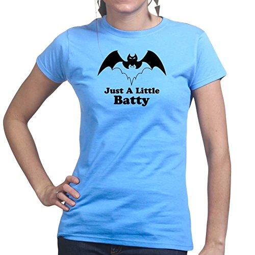 Womens A Little Batty Halloween Ladies T Shirt (Tee, Top) Light Blue
