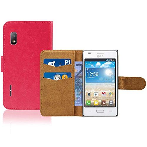 LG Optimus L5 E610 Premium Leder Flip Case - Pink Pu Leder...