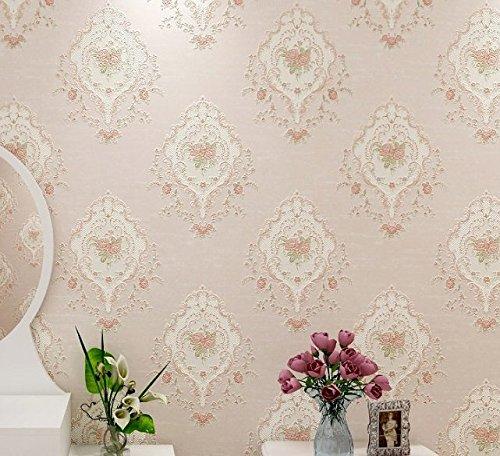 Reyqing Idyllische Wohnzimmer Stereo - Relief Aus Stoff Hintergrund Tapeten Pro Band 9.5M,Licht Rosa
