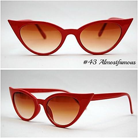 Gattino (piccolo) Rosso VTG 50s/60s da donna, stile occhi di gatto occhiali da sole occhiali retrò Rockabilly Vintage Mondo Eye Wear