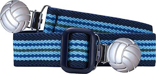 Playshoes Unisex - Kinder Gürtel 601211 Elastischer gestreifter Kindergürtel mit Fußball Clips, passend bei Größe 74-110, Gr., Blau (hellblau/marine) Polyester-jungen-clip