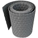 workingHOUSE® Polyrattan-Sichtschutzstreifen, Sichtschutz für Doppelstabmatten Zaun, 19 x 250 cm (Hellgrau)