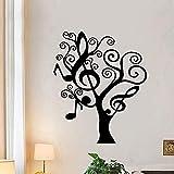 Zbzmm Wallsticker Home Bedroom Pretty Tree Music Wall Sticker PVC Wall Art Modern Fashion Stickers for Kids Room Living Room Home Decor Art Decals 58 * 69 cm