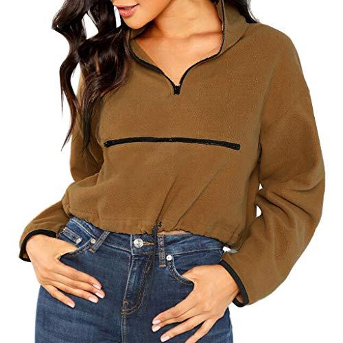 90er Kostüm Zum Verkauf Jahre - Iwähle ♥ Art- und Weisefrauen beiläufige flaumige Feste Lange Hülsen Reißverschluss Sweatershirt Oberseiten (S)