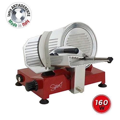 Spice spp014-r Paprika 220-Affettatrice Professionale Pressofusione Alluminio-Lama Made in Italy 22 cm, 160 W, Acciaio Inossidabile