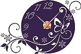 GRAZDesign 800402_KF_040 Wandtattoo Uhr Wanduhr mit Uhrwerk Wohnzimmer Blume Schmetterling (84x57cm // 040 violett // Uhrwerk Kupfer)