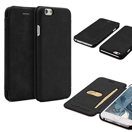 Étui iPhone 6 / 6s, G-Case Housse Simili Cuir [avec Fente pour Cartes] Coque Apple iPhone 6 / 6s Case Noir Smartphone Téléphone Noir