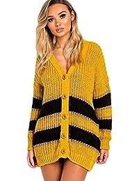 aa0ba8440189 Ikrush Womens Rhianne Chunky Knit Striped Cardigan Mustard