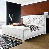 Polsterbett Kunst-Lederbett Weiß Doppelbett Bettgestell Komforthöhe Salomon, Größe:180x200 cm