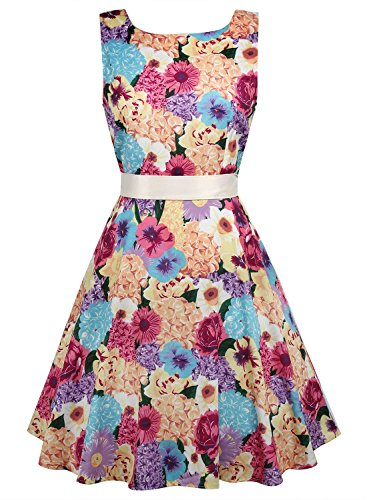 Creti Elegant Damen Vintage 50er Kleider Floral Flare A-Line Partykleid Sommerkleid (Jeans Flare Vintage)