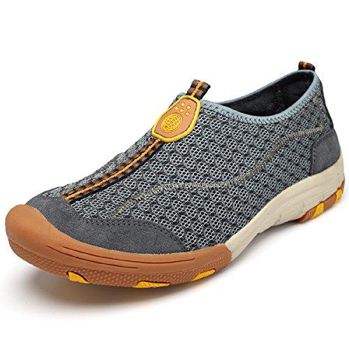 H-Mastery Herren Outdoor-Sportschuhe Bootsschuhe Aquaschuhe Strandschuhe Breathable Ineinander Slippers Grau