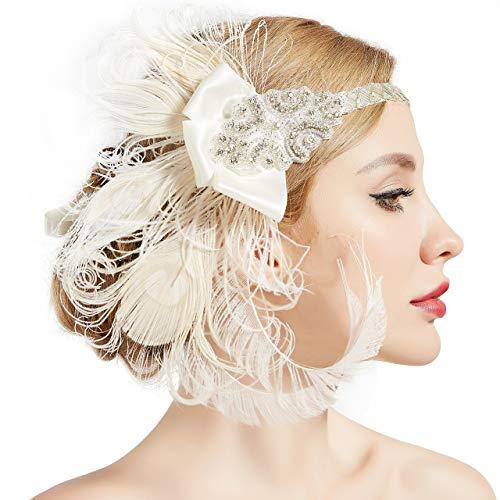 ArtiDeco Damen 1920s Stirnband Pfau Feder 20er Jahre Stil Flapper Haarband Inspiriert von Great Gatsby Damen Kostüm ()