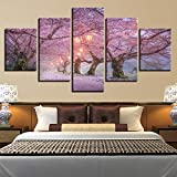 rkmaster-Modulare Leinwand Wandkunst Druck Moderne Poster 5 Panel Kirschblüte Landschaft Wohnzimmer Bild Dekoration Malerei 30 cm * 40 cm * 2 30 cm * 60 cm * 2 30 cm * 80 cm * 1 Kein Rahmen
