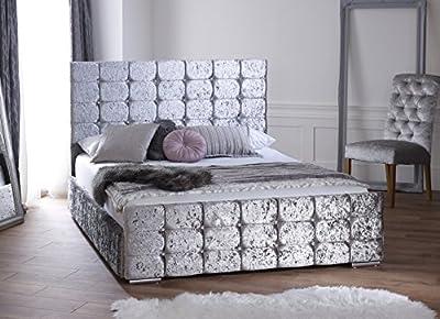 Ventina Silver Crushed Velvet Storage Bed 5ft UK Kingsize