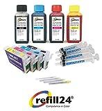 Refill24 Kit de cartouches rechargeables noir et couleur Epson série 29/29XL auto-réinitialisables + accessoires