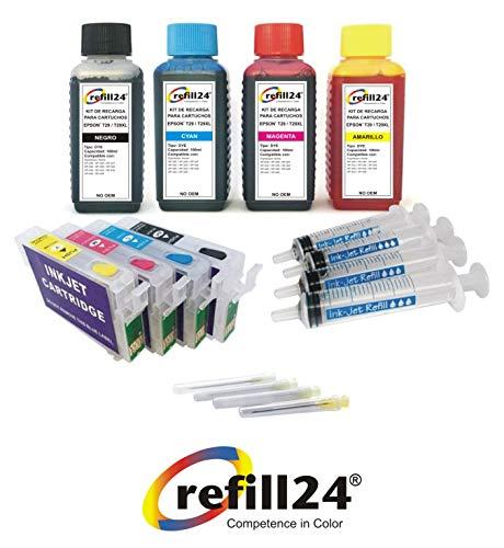 refill24 - Kit de recharge pour cartouches d'encre Epson 29/29XL Noir et couleur + Cartouches rechargeables et accessoires