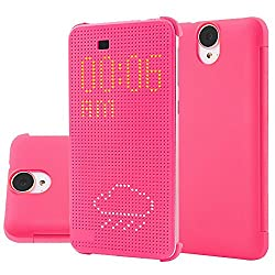 Heartly Dot View Touch Sensative Flip Thin Hard Shell Premium Bumper Back Case Cover For HTC One E9+ E9 Plus A55 - Cute Pink