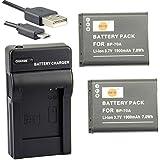 DSTE BP-70A Li-ion Batterie (2-Pack) et chargeur USB costume pour Samsung ST30ST60ST61ST65ST66ST67ST70ST71ST72ST76 ST80ST90