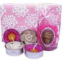 Hana Blossom - Candela profumata in cera d'api a forma di fiore con 4 candeline a forma di fiore, in confezione regalo, colore: Rosa