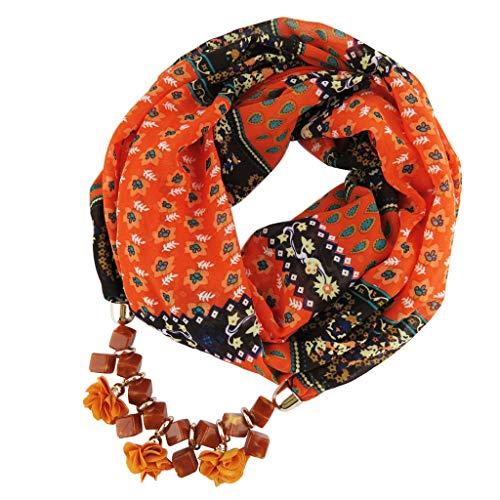 f Neue Mode Frauen Anhänger Schal Mit Chiffon Strass Schmuck Schals Schrittweise farbige Schals (B, 60cm-80cm) ()