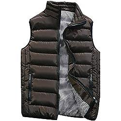 KEERADS Homme Veste Gilet Casual Chaud Doudoune Vest sans Manche Manteau Blouson Zipper Automne Hiver(FR-54/XL,café)