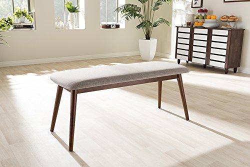 Mid Century Modern Bench (Baxton Studio Flora Mid-Century Modern Light Grey Fabric and