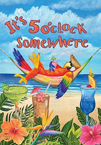CHKWYN 5 O'clock Parrot Summer Garden Flag Beach Humor for Party Outdoor Home Decor Size: 12.5-inches W X 18-inches H