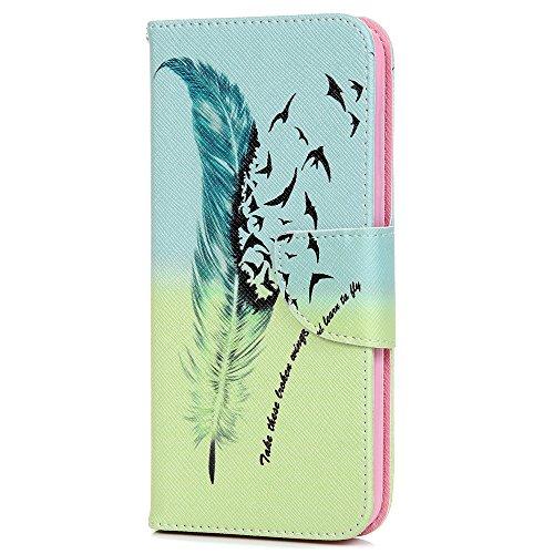 Tophung Huawei Smart Case, Premium PU Leder Flip Wallet Case Notebook-TPU Innere mit Folio Slot Ständer Kartenhalter magnetisch Smart Cover Schutzhülle Hülle für Huawei P/mit 7S Feather Birds -