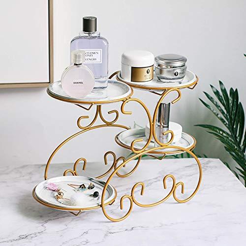Slivy 4 Runde Keramik Tray Metallverfassungs-Organisator Aufsatz- Make Up Caddy Regal Kosmetik Organizer Box Schmuck Rack Lagerregal for Badezimmer Dresser Vanity -Gold (Color : Gray)