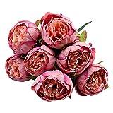 Unechte Blumen, Künstliche Deko Blumen Gefälschte Blumen Seidenrosen Plastik Braut Hochzeitsblumenstrauß für Haus Garten Party Blumenschmuck Rose (Lila)